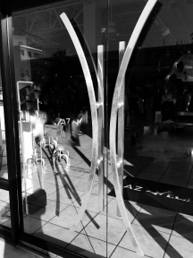 black and white glass door