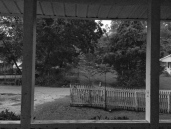 black and white view from the porch